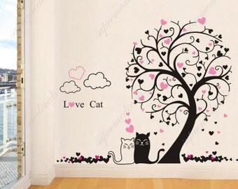 Playroom, boy, girl room decor must have- Tree with Love cats-71 inch H- Stickers Vinyl Wall Art Decals Removable