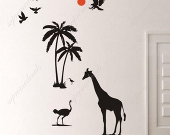 Tropical island in sunset- Wall Decals Stickers Removable Vinyl Mural Home decor Playroom, Boy Kids