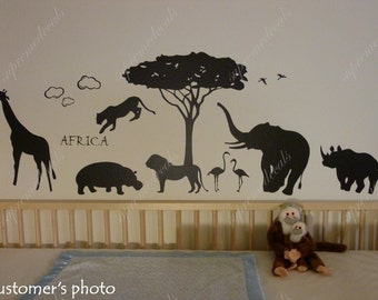 Kids Decals Africa Animals- Removalbe Vinyl Wall Decals to your kids