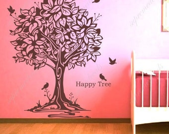 Happy tree and birds - Removable vinyl art wall decals sticker living room