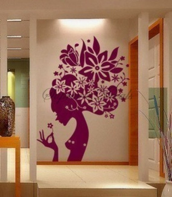 Items similar to flower girl 5 feet tall removable vinyl art wall decals home decor on etsy - Decoraciones de pared ...