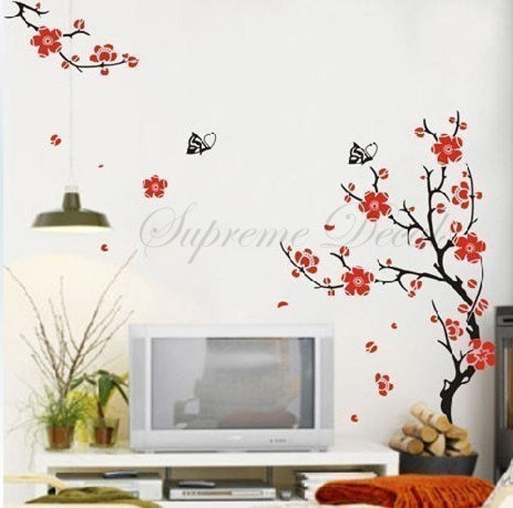 On sale- Plum Blossom TV background -- 59inch tall -- Wall Art Home Decors Murals Removable Vinyl Decals Paper Stickers