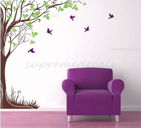 "Modern Tree Wall Vinyl Flying Birds Stickers- Fantasy Big Tree(102""H)- Removable Vinyl Wall Decal for Living Room Office Bedroom"