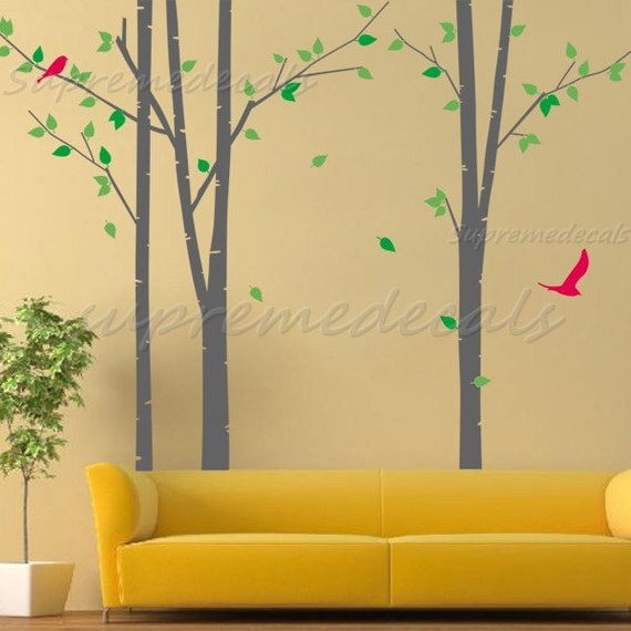 My green tree with flying birds Vinyl Wall Decals by PopDecals