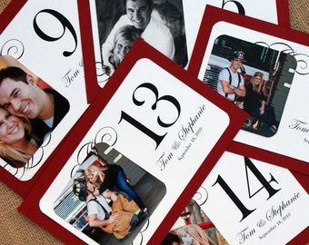 Personalized Photo Table Cards / Table Numbers - Custom Colors Available