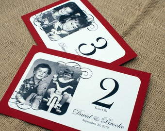 Through the Years - Personalized Photo Table Numbers by Age or Year - Custom Colors Available