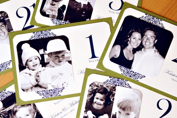 RESERVED for Kim - NEW Personalized Photo Table Numbers by Age or Year - 5 x 7 Frameable Size - Custom Colors - Set of 17