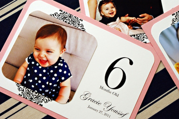 The First Year Birthday Photo Cards - 12 Months - Baby's First Birthday - Frameable Keepsake - Custom Colors Available - Set of 12