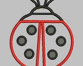 Lady Bug ...Digitized Applique Machine Embroidery Design  5x7 and 6x9