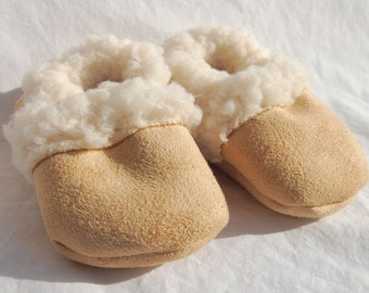 Suede/Faux Sheepskin Baby Booties