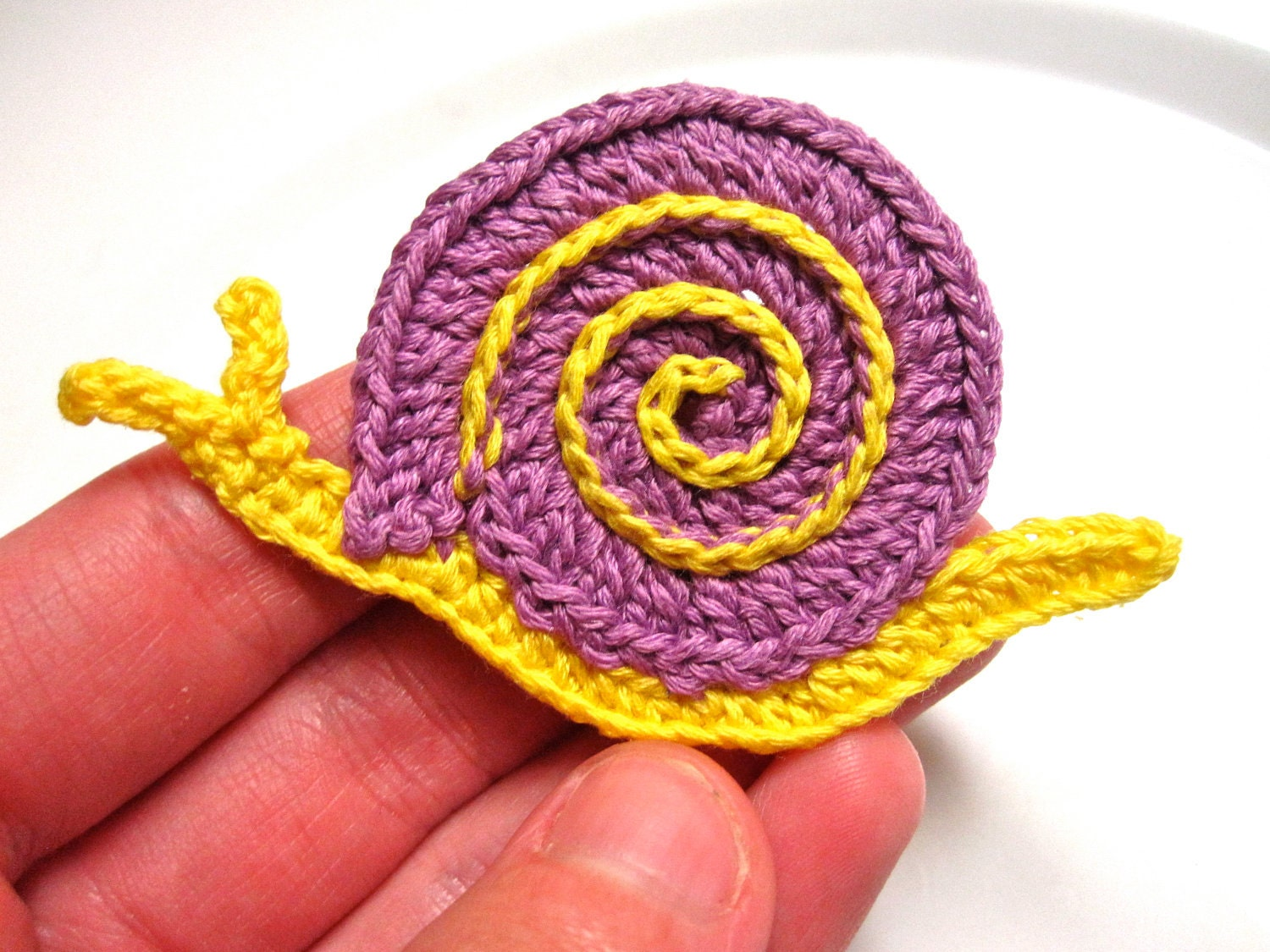 Items similar to Crochet Applique Pattern, Snail Applique ...