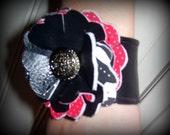 vinyl flower cuff, black and red