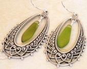 Earrings, Hoop Earrings, Leaf Earrings, Modern Earrings, Weeding Jewelry, Bridal Earrings, Dangle Earrings, Drop Earrings, Silver hoop, Gift