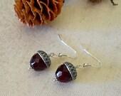 Free shipping, Acorn Drop earrings, Dangle Earrings, Red Earrings, Silver Acorn, deep red, Wedding earrings, Gift