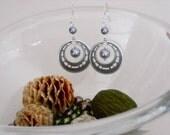 Hoop Silver earrings, Dangle, Drop, Pearl Earrings, Cluster, Chandelier, Wedding, Bridal Jewelry, Free Shipping, Gift
