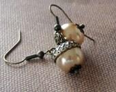 Drop Acorn Earrings, Dangle earrings, Pearl earrings, Wedding , Free Shipping, Gift, Brass acorn