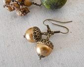 Acorn Dangle Earrings, Drop, Golden pearl earrings, Earrings, Acorn, Vintage Style Earrings, Acorn Drop, Gift
