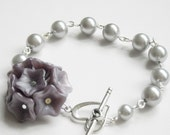 Purple Flowers Charm Bracelet, Silver pearls necklace, wedding bracelet, pearls necklace, bridal
