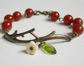 Twig Charm Bracelet, Red Agate, Brass Twig, Friendship, Wire, Beaded, Wedding Bracelet, Gift, Free Shipping