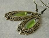 Filigree Hoop Earrings, Dangle, Drop earrings, Green leaf, Antiqued brass, Bridal earrings, Wedding Earrings, Free Shipping, Gift
