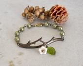 Twig Charm Bracelet, Beadwork Olivine Bracelet, Friendship Bracelet, Cuff Bracelet,  Free Shipping, Wedding bracelet