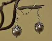 Romantic  Earrings - Pearl earrings, Dangle Earrings, Silver Pearl earrings, Silver hoop, Free Shipping, Gift, Wedding jewelry