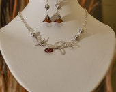 Set of 2- Leaf and Sparrow Statement   Necklace and  Earrings, Dangle Earrings, Drop, Lariat, Wedding Jewelry, Red Flower, Gray pearls