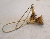 Free Shipping  Dangle Earrings,  Brass -Opaque Gold/Smoky Topaz, Flower Earrings, Bridal Earrings,