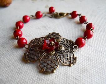 Lady in Red Love Bracelet, Friendship bracelet, flower bracelet, gift, bridal jewelry