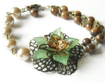 Flower Bracelet, Brass flower, bronze bracelet, bronze pearls , brown beads, green flower, Free Shipping,Gift