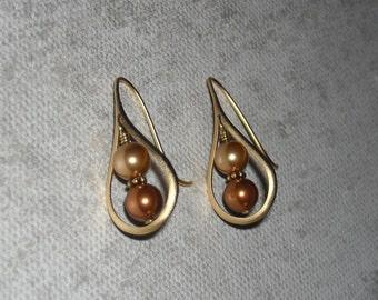 Drop Gold Earrings, Dangle Earrings, Golden, Hoop Earrings, Wedding, Bridal earrings, Eco-friendly, Gift