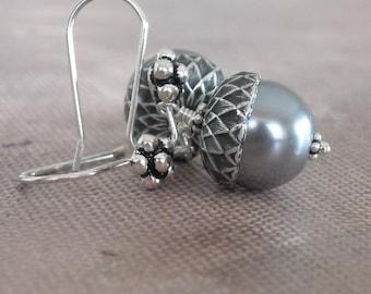 Free Shipping in U.S. - Silver Acorn Earrings