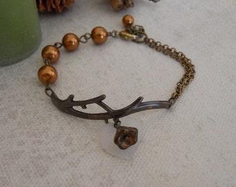 Branch  Bracelet - Copper Pearls, Vintage twig, brass branch, White leaf, brown flower, Free Shipping, Gift,