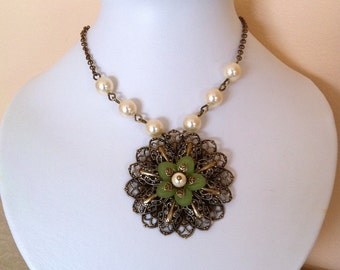 Free Shipping Vintage Flower Pendant necklace, Statement Necklace, Lariat, Choker, Wedding necklace, Vintage style