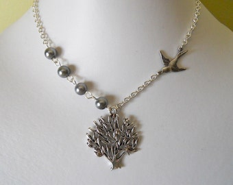 Tree  Pendant Necklace, Bird tree necklace, Silver tree, silver bird, bridal necklace, Free Shipping, gift, wedding jewelry