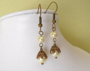 Tania's Dangle Earrings, Drop Earrings, Cluster, Pearl Drop earrings, Wedding earrings, Bridal Earrings, Earrings, Gift, Free Shipping