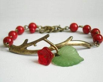 Hot Red Twig Party Bracelet , Charm Bracelet, Bangle, Friendship bracelet,Red coral, golden twig, green leaf, wedding