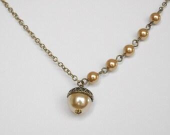 Acorn Statement Necklace, Acorn Pendant, Lariat, Pearls Necklace,  Gold Pearl Necklace, Gift, Wedding, Bridal