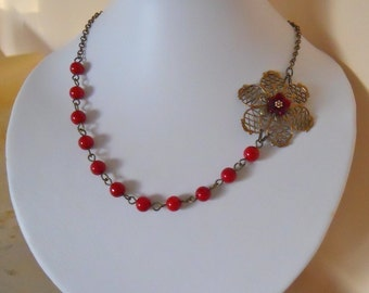 Red Statement Necklace, Choker, Lariat, Red Coral, Red necklace, Gift, Party necklace