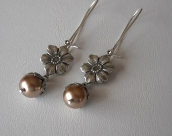 Silver earrings, Flower earrings, bronze pearl earrings, Drop Earrings, Dangle earrings, Cluster, Earrings, Wedding Earrings ,Bridal, Gift