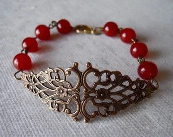 Brass Floral Filigree Bracelet, Charm bracelet, Bangle, Cuff, Red Agate, Wedding bracelet, Free Shipping, Gift, red bracelet