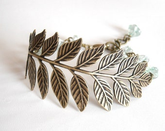 Branch  Flower Bracelet , Vintage brass branch, glass flowers, bridal bracelet, Free Shipping, Gift