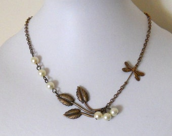 Nature Pendant Necklace, Statement necklace, Lariat, Choker, Dragonfly and branch Necklace, Wedding jewelry, Gift