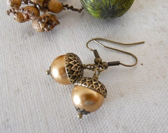 Acorn Dangle Earrings, Drop, Golden pearl earrings, Earrings, Acorn, Vintage Style Earrings, Acorn Drop, Gift