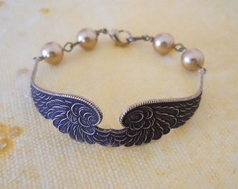 Wings of Peace Bracelet- antiqued wings, golden pearls, brass, Free Shipping, Gift, elegant