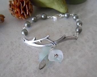 Powder Green Pearls Twig Bracelet, Garden twig, Twig Charm, charm bracelet, Bangle, Cuff, Friendship bracelet, Gift, Bridal