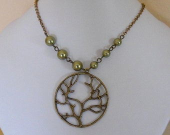 Love Tree Necklace, Tree Pendant, Green Pearls,VIntage style necklace, Free Shipping, Gift, brass