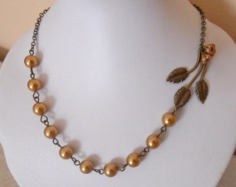 Flowers and Leaf Choker Necklace, statement necklace, Lariat, bib,golden pearls necklace