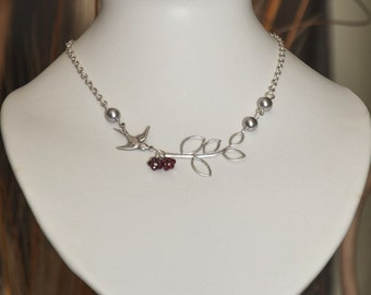 Fly with me  Statement Necklace - Silver, Lariat, gray pearls necklace, Red Flower, Sparrow, silver twig, wedding necklace