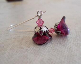 Pink Lily flower Drop Earrings, Dangle, Cluster, Wedding, Bridal, Earrings, Pink flower, Free Shipping
